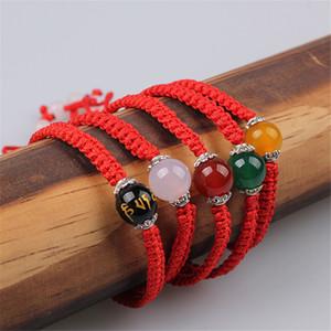 Sangsy 2020 Rope New Nature contas Pedra Vermelha Pulseira preta por Mulheres Handmade Bangle Wax Corda Amuleto Jóias