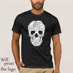 Tişört Mannen Pug Hond Schedel Custom Made Gedrukt Hond Dier Tees Korte Mouwen Homme T-shirt Artı Sisze