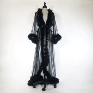Seksi Kadın Kürk Pijama Robe De Mariée Sheer Nightgown Uzun Kollu Uzun Robe Spa Kostüm Seksi Elbise Ile Kemer