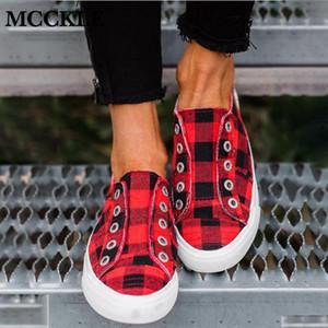 MCCKLE Женских кроссовок Весна Женщина Цельнолитная обувь Повседневная женщина скольжение на платформу Женской плед Женского Комфортный Flats 2020