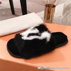 Vison femmes dernière Pantoufles avec fourrure, Soft Suite Flat Mulets Dreamy Chaussons pour Femmes Chaussures Brown Homey, Taille 35-42
