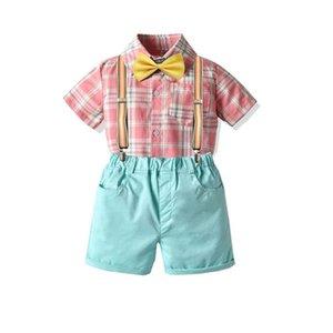 Summer gentleman boys suits cotton kids outfits short sleeve shirt+suspender shorts pants 2pcs set kids designer clothes boys clothes B1261