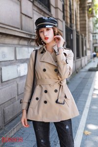 المرأة معاطف قصيرة ضئيلة معطف مزدوجة الصدر Gambardine القطن سترة كاكية اللون الأحمر النمط البريطاني S-XXL سترة المرأة AA2TYETY
