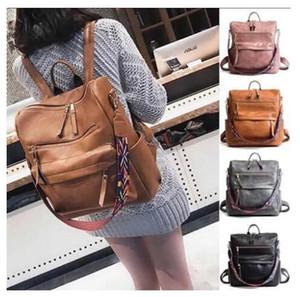 Pelle Blanks Faux delle donne all'ingrosso Zaino con Serape colori Webbing Strap Fashion School Bag per la ragazza può essere personalizzato