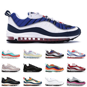Nike air max 98 shoes airmax 98 Stock X Black Off Noir Reflective 98 Mens running shoes Gym Red Rose Gundam South Beach 98s Team Orange men women sports sneakers