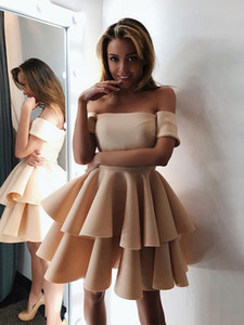 Champagne Cold Shoulder Two Layers Homecoming Party Dresses Open Back Short Sleeves A-line Prom Graduation Dress Vestidos De Novia Cheap