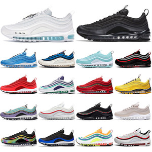 Nike air max 97 Com Meias Clássico Tênis de corrida Almofada de Buffer de Ar Vermelho Leopardo Triplo branco preto Homens mulheres sports Designer de Tênis Dos Homens Formadores