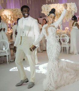 2019 Luxury New Prom Dresses Charble zoe Elie saab Yousef aijasmi Mermaid Long Sleeve White Feather Red Carpet Dresses