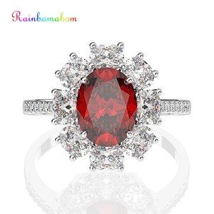 Rainbamabom 925 Katı Gümüş Toptan düzenlendi Moisanit Yakut Taş Düğün Nişan yüzüğü Güzel Takı