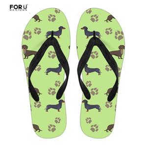 Tirón ocasional de los fracasos de las mujeres FORUDESIGNS Dachshund lindo animal perro de la impresión de goma maciza playa de los deslizadores de las sandalias de verano zapatos ligeros