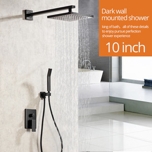 Duche Torneiras Matte montagem na parede preta Torneira do banheiro Set Rainfall Praça Big Cabeça de chuveiro Handheld Válvula Bath Mixer Tap