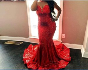 Sequined Red Mermaid Prom Dresses Count Train Sleeveless Plus Size Evening Gowns Sheer Neck Shinning Black Girls 2K19 Homecoming Dress Cheap