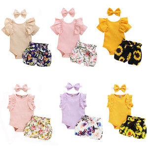 kids designer clothes girls flower outfits infant Ruffle Sleeve Romper tops+Floral Print Shorts+Headband 3pcs set summer baby Clothing Sets