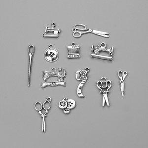 Швейные ножницы Шарм кулон для браслеты ожерелья DIY ювелирные изделия аксессуары Тибетский серебряный сплав смешанные подвески женщина домохозяйка горячие ремесла