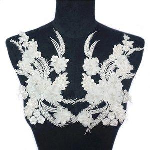 2 STÜCKE Weiß Stoff Blumen Perlen Quaste Strass Gestickte Applikationen Spitze Borte Mesh Nähen Auf Flecken Für Hochzeitskleid Dekoration DIY