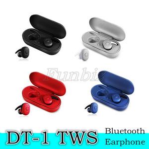100PCS estéreo DT-1 TWS Wireless Mini auricular de Bluetooth móvil Auriculares Sport auricular con micrófono portátil de carga Box Para todos los teléfonos inteligentes