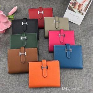 Heiße Frauen Portemonnaie Designer Luxus-Tasche Geldbörse aus echtem Leder-Kartenhalter Stern 7264991 5120 Top-Qualität Größe 10 * 12cm mit Kasten