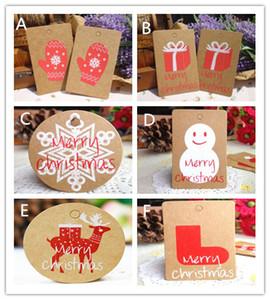 50 adet / lot Merry Christmas Hediye Kraft Kağıt Etiketler Noel Baba Kağıt Karton Etiket kar tanesi Noel ağacı Parti Dekoru DIY Etiket Hediye Etiketler