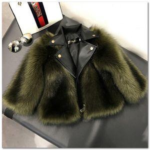 Faux Faux Fox Fourrure De Chute D'Outwear Chute D'hiver Nouveaux Filles Épaissir Pu Pu Jacket Manteau Enfants Vapeur à manches longues Peluche Princesse Chaud J1418