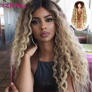 긴 여자의 가발 합성 가발 # 1b 613 금발 머리 가발 변태 곱슬 금발의 여자 가발 FZP210