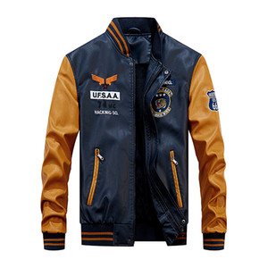 Baseball Jacket Men Bomber Brasão motociclista Pu Faux Pilot Jackets Varsity velo Colégio Top Leather Slim Fit Motorcycle Outwear Casacos
