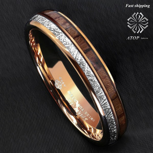 6mm Rose Gold Dome Tungsten Ring Silver Koa Wood Inlay Bridal Atop Men Jewelry Y19062004