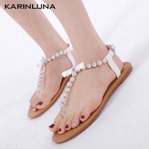 Karin 2020 New Fashion Gladiator femme chaussures plates avec chaîne de perles d'été Casual Sandales