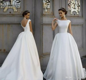 Setwell 2019 abiti da sposa semplice Bateau cap maniche Backless Wedding Gowns in abito da sposa a buon mercato su misura
