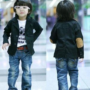 البدلة بنين السترة القطن للملابس بوي CHEAP الأطفال لبوي 3T-10 سنوات B0011 أسود أزرق الألوان مع الصوف حماية الكوع