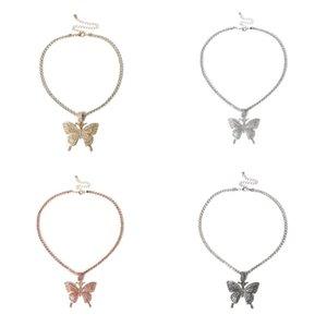 4 Colors Fashion Bling Ice Out chain Butterfly Pendant Necklaces High Quality Hip Hop Tennis Chain Personality Jewelry for Women L356FA