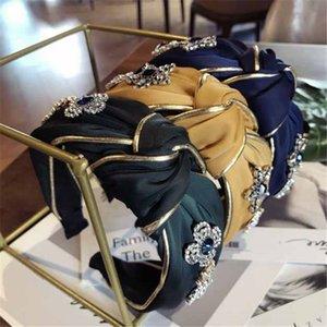 Banda de cabelo da moda para as mulheres chiques headbands com pérolas de cristal de luxo de ouro lado senhoras yoga faixa de cabelo