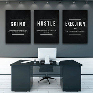 Grind Hustle Execution Wall Art Stampe su tela Decorazioni per ufficio Motivational Modern Art Imprenditore Motivation Painting Pictures