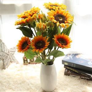 Sonnenblume-künstliche Blumen-Brautblumen-Blumenstrauß-Hochzeit Dekorationen Haus-Raum-Dekor dekorative Blumen 12pcs / lot T2I249