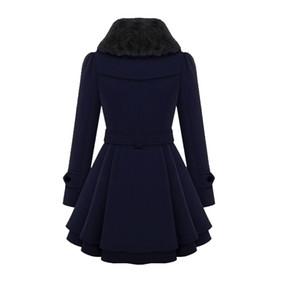 Зимние женские стройные отвороты в длинном шерстяном пальто двубортное теплое пальто ветровка женская сплошной цвет
