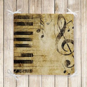 Else Brown Vintage Black Piano Notes 3d Print Square Chair Pad Seat Cushion Soft Memory Foam Full Lenght Ties Non Slip Washable