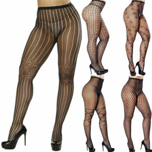 Calze collant a rete Mesh Calze biancheria intima di pizzo Sheer One Size Sexy Woemns Intimo Donna Nero Sockings