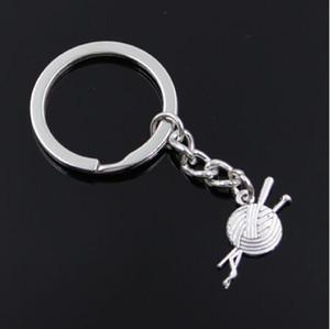 20 pz / lotto portachiavi gioielli portachiavi in argento placcato palla di filati maglia pendente accessori chiave