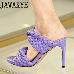 Chaussures de talons hauts femmes main Weave tricotées Pantoufles sandales fête d'été crossover 2020 piste de la mujer mules