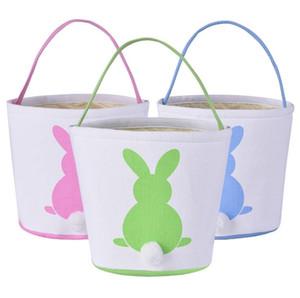 Pascua cesta del conejito del conejo de cola Orejas barril bolsas de dulces Cestas Kids Party Festival Caramelos huevos de Pascua de almacenamiento totalizadores conejito bolsos