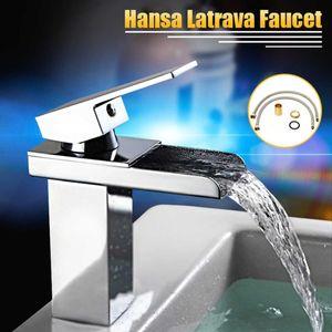 Laiton moderne Chrome mitigeur de cuisine Waterfall salle de bains bassin dolines robinet avec tuyau en acier inoxydable salle de bains vestiaire