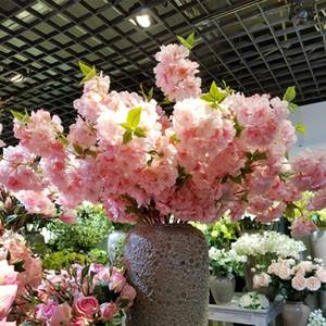 Cherry Blossom Simulation 50pcs Branche fête de mariage Décoration Faux Sakura Encrypted Ruban poirier Branche artificielle Brindille Fleur