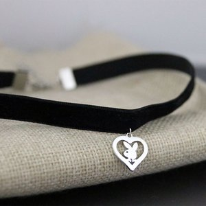 Nuovo arrivo carino coniglio coniglio pendente nero corea del velluto corda girocollo collana collare femminile collier bijoux regalo ragazze SN149