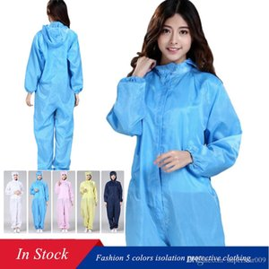 Fashion 5 Colors Disposable Gown Isolation Protective Clothing Safety Suit Anti Pollution Waterproof Hooded Non-woven Protective Suit
