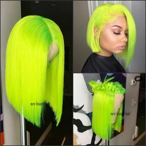 Moda barata brasileña pelucas delanteras llenas del cordón Peluca corta verde Bob para blanco / negro Mujeres resistente al calor recta cosplay peluca sintética