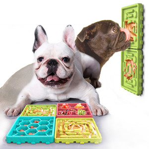 Anti-Rutsch-Hund lecken Mat Bowl Langsam Feeder-Zufuhr-Trainings-Hunde Puzzle Einspeiseplatte Interactive Füttern Spielzeug Leicht Grooming