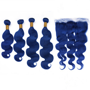 Virgin Malaysian Human Hair Dark Blue Body Wave 4Bundles with Frontal Closure 13x4 Pure Blue Wavy Hair Wefts with Full Lace Frontal