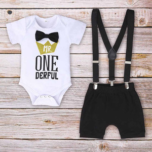 Clothes Newborn Infant Baby Boys Letter Gentleman Birthday Short Sleeve Romper + Straps Shorts Outfits Clothes Set