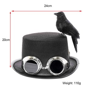 Costume Black Steampunk Hat Halloween Party Decoration Party Props Hat Men Women Vintage Carnival Party Cosplay Dome Bowler New