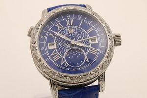 2020 NewTop Moda e azul novo ponteiro dos homens azuis Dezel Blue Belt Stainless Watch Men Sports Wrist Sapphire Men Watch Marca Sky Lua