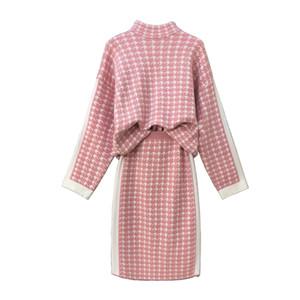 PERHAPS U женщины вязать розовый воротник стойка с длинным рукавом пуловер до колен юбка-карандаш из двух частей набор элегантный ломаную клетку T0112